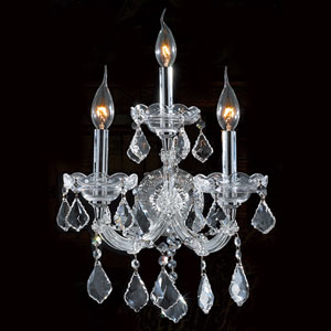 Maria Theresa Three-Light Chrome Finish with Clear-Crystals Wall Sconce