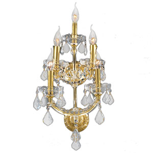 Maria Theresa Polished Gold Five-Light Wall Sconce