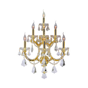 Maria Theresa Polished Gold Seven-Light Wall Sconce