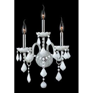 Provence Three-Light Chrome Finish with White Crystal Wall Sconce