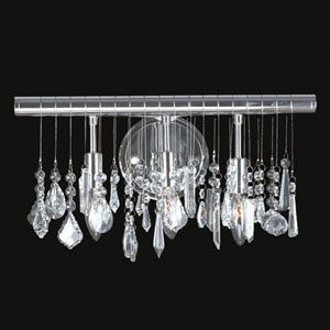 Nadia Three-Light Chrome Finish with Clear-Crystals Vanity Wall Sconce