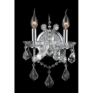 Lyre Two-Light Chrome Finish with Clear-Crystals Wall Sconce