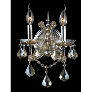 Lyre Two-Light Chrome Finish with Golden Teak Crystal Wall Sconce