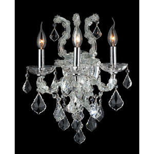 Lyre Three-Light Chrome Finish with Clear-Crystals Wall Sconce