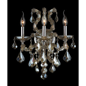 Lyre Three-Light Chrome Finish with Golden Teak Crystal Wall Sconce