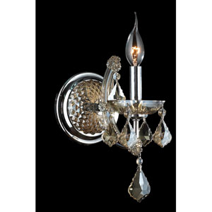 Lyre Chrome Finish with Golden Teak Crystal Wall Sconce
