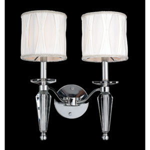 Gatsby Two-Light Chrome Finish with Clear-Crystals Wall Sconce