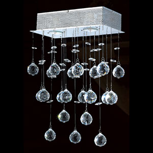 Icicle Three-Light Chrome Finish with Clear-Crystals Wall Sconce