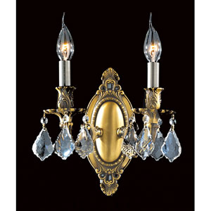 Solid Brass Two-Light Antique Bronze Finish with Clear-Crystals Wall Sconce