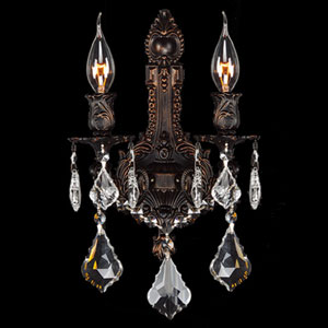 Versailles Two-Light Flemish Brass Finish with Clear-Crystals Wall Sconce