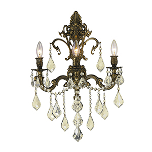 Versailles Antique Bronze 17-Inch Three-Light Wall Sconce