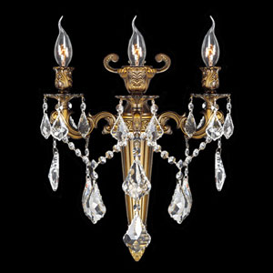 Versailles Three-Light Antique Bronze Finish with Clear-Crystals Wall Sconce