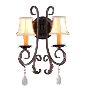 Abigail Flemish Brass Two-Light Wall Sconce