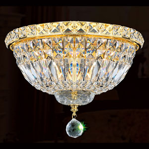 Empire Four-Light Gold Finish with Clear-Crystals Ceiling-Light