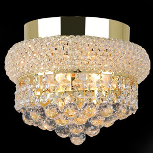 Empire Three-Light Gold Finish with Clear-Crystals Ceiling-Light