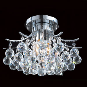 Empire Three-Light Chrome Finish with Clear-Crystals Ceiling-Light