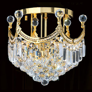 Empire Six-Light Gold Finish with Clear-Crystals Ceiling-Light