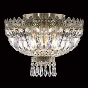 Metropolitan Three-Light Antique Bronze Finish with Clear-Crystals Ceiling-Light