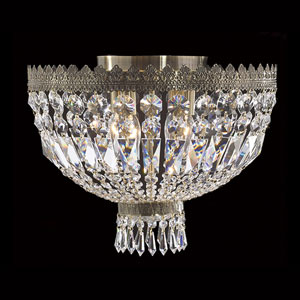 Metropolitan Four-Light. Antique Bronze Finish with Clear-Crystals Ceiling-Light
