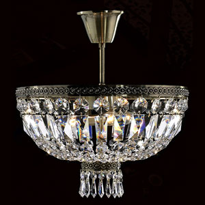 Metropolitan Four-Light Antique Bronze Finish with Clear-Crystals Ceiling-Light