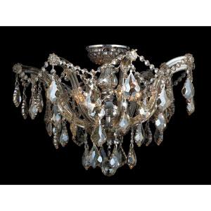 Bayou Six-Light Chrome Finish with Golden Teak Crystal Ceiling-Light
