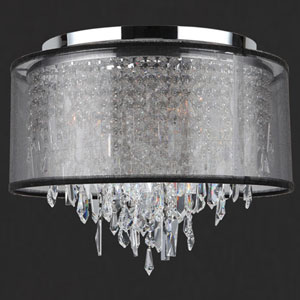 Tempest Five-Light Chrome Finish Crystal Ceiling-Light with Black Organza Shade