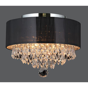 Gatsby Three-Light Chrome Finish with Clear-Crystals Ceiling-Light