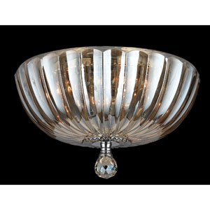 Mansfield Three-Light Chrome Finish with Golden Teak Crystal Ceiling-Light