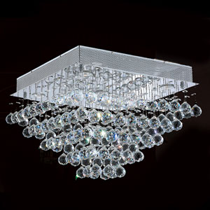 Icicle Five-Light Chrome Finish with Clear-Crystals Ceiling-Light