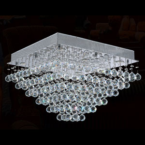 Icicle Eight-Light Chrome Finish with Clear-Crystals Ceiling-Light