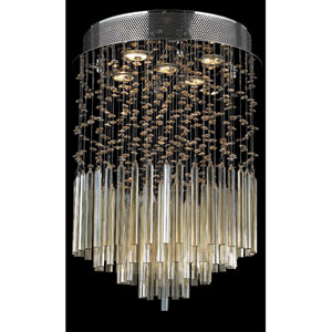 Torrent Five-Light Chrome Finish with Golden Teak Crystal Ceiling-Light