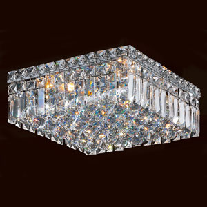 Cascade Four-Light Chrome Finish with Clear-Crystals Ceiling-Light