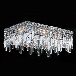 Cascade Four-Light Chrome Finish with Clear-Crystals Ceiling-Light