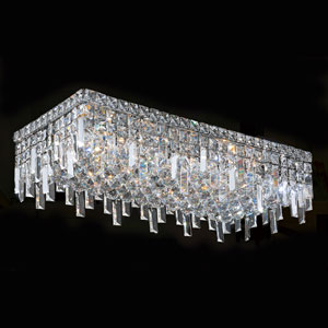 Cascade Six-Light Chrome Finish with Clear-Crystals Ceiling-Light