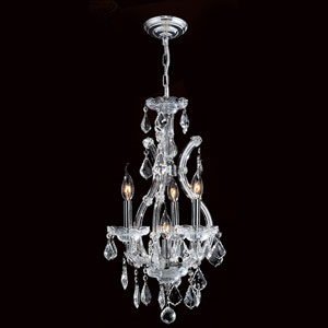Maria Theresa Four-Light Chrome Finish with Clear-Crystals Chandelier
