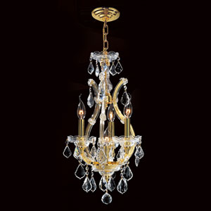 Maria Theresa Four-Light Gold Finish with Clear-Crystals Chandelier