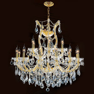 Maria Theresa 19-Light Gold Finish with Clear-Crystals Chandelier