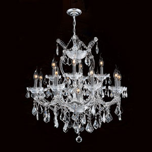 Maria Theresa 13-Light Chrome Finish with Clear-Crystals Chandelier