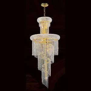 Empire 10-Light Gold Finish with Clear-Crystals Chandelier