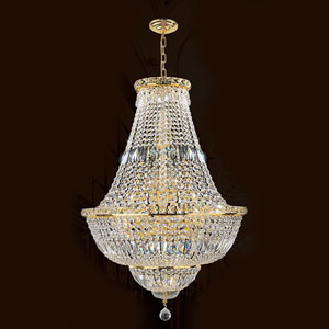 Empire 22-Light Gold Finish with Clear-Crystals Chandelier