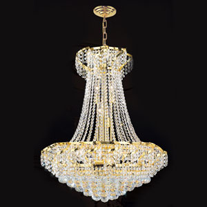 Empire 15-Light Gold Finish with Clear-Crystals Chandelier