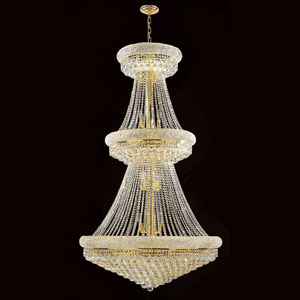 Empire 32-Light Gold Finish with Clear-Crystals Chandelier