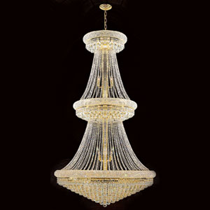 Empire 38-Light Gold Finish with Clear-Crystals Chandelier