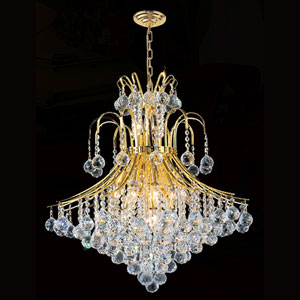 Empire 15-Light Gold Finish Crystal Chandelier