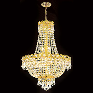 Empire Eight-Light Gold Finish with Clear-Crystals Chandelier