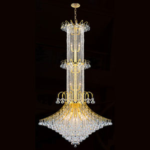 Empire 20-Light Gold Finish with Clear-Crystals Chandelier