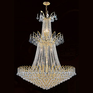 Empire 18-Light Gold Finish with Clear-Crystals Chandelier