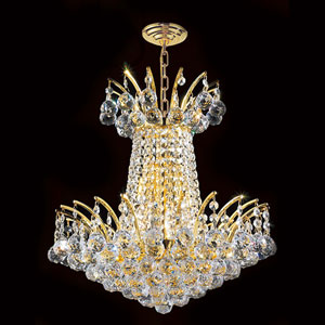 Empire Four-Light Gold Finish with Clear-Crystals Chandelier