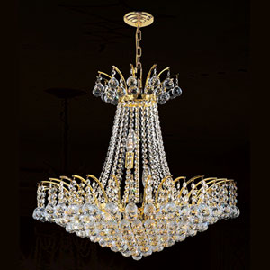 Empire 11-Light Gold Finish with Clear-Crystals Chandelier