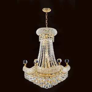 Empire 12-Light Gold Finish with Clear-Crystals Chandelier